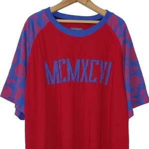Mens ENYCE Red Blue MCMXCVI Floral Short Sleeve